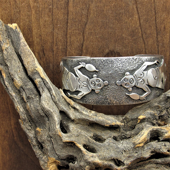 Vintage Navajo Sterling Silver Mudhead Kachina Overlay Cuff by Charlie Bowie