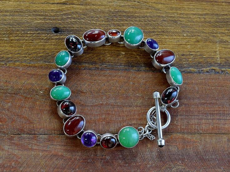 Vintage Multi-Stone Sterling Silver Link Bracelet