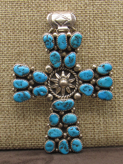 Sterling Silver Blue Turquoise Cluster Cross Pendant