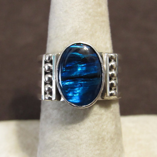 Southwest Sterling Silver and Lab Opal Ladies Ring Size 7.75