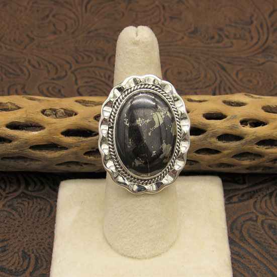 Black Pyrite Infused Stone Statement Ring Size 8