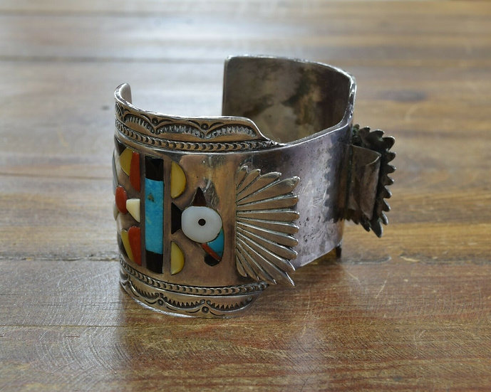 Vintage Zuni Thunderbird Watch Cuff by Chester Mahooty