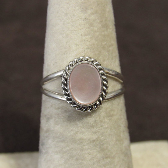 Navajo Jan Mariano Sterling Silver and Pink Mussel Ring Size 9