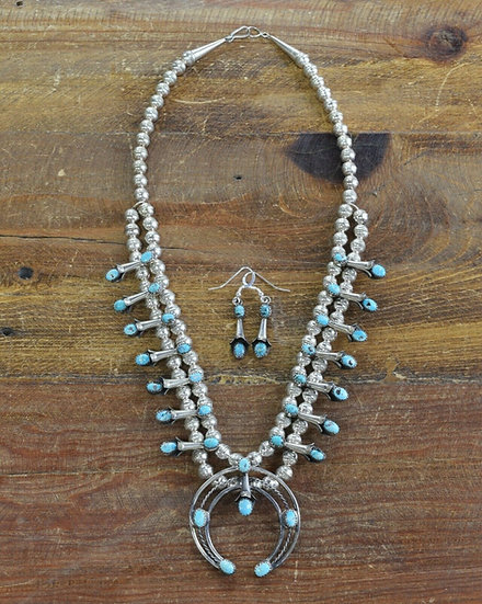 Vintage Navajo Sterling Silver and Turquoise Squash Blossom Necklace Set