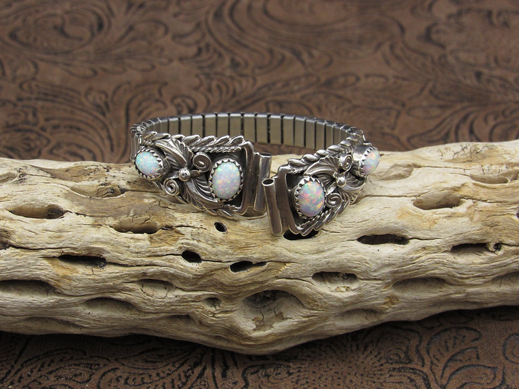 Southwestern Sterling Silver Lab Created Opal Watch Band