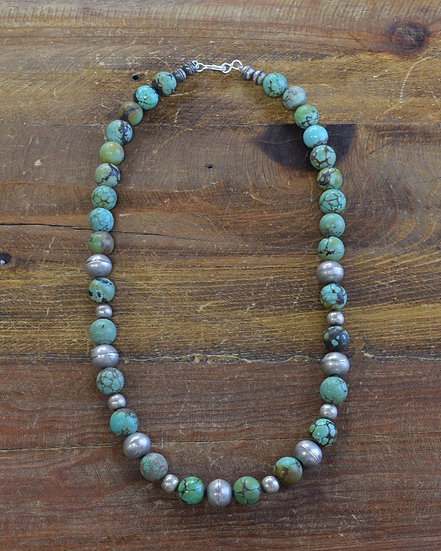 Vintage Sterling Silver Turquoise Beaded Necklace