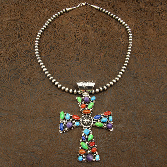Southwestern Sterling Silver Colorful Multi Stone Cross on Beads Necklace