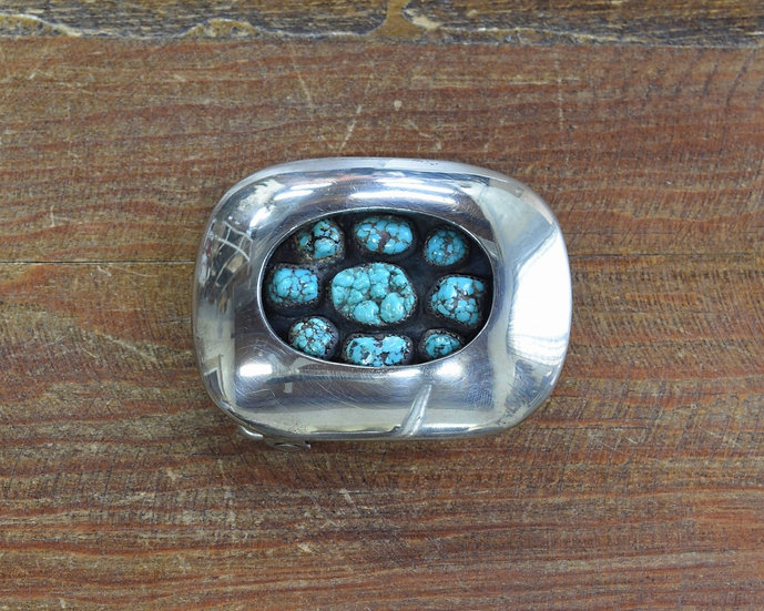 Vintage Sterling Silver and Turquoise Shadowbox Belt Buckle Riveras