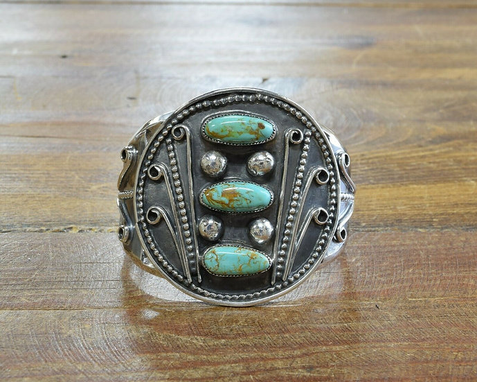 Turquoise Three Stone Sterling Silver Cuff Bracelet