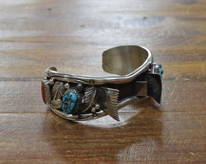 Vintage Southwestern Sterling Silver Turquoise and Coral Watch Bracelet