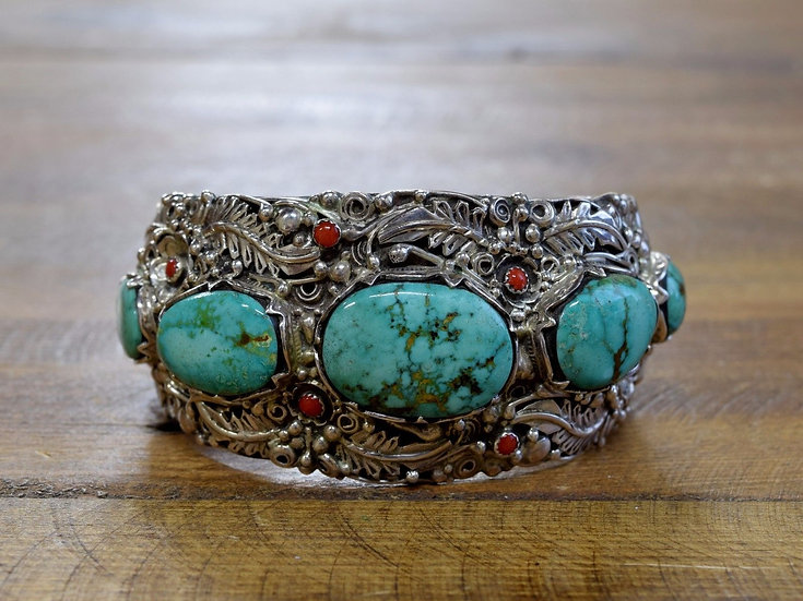 Vintage Southwest Turquoise and Coral Sterling Silver Cuff Bracelet
