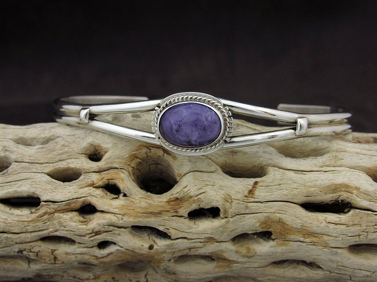 Lightweight Sterling Silver Charoite Cuff Bracelet