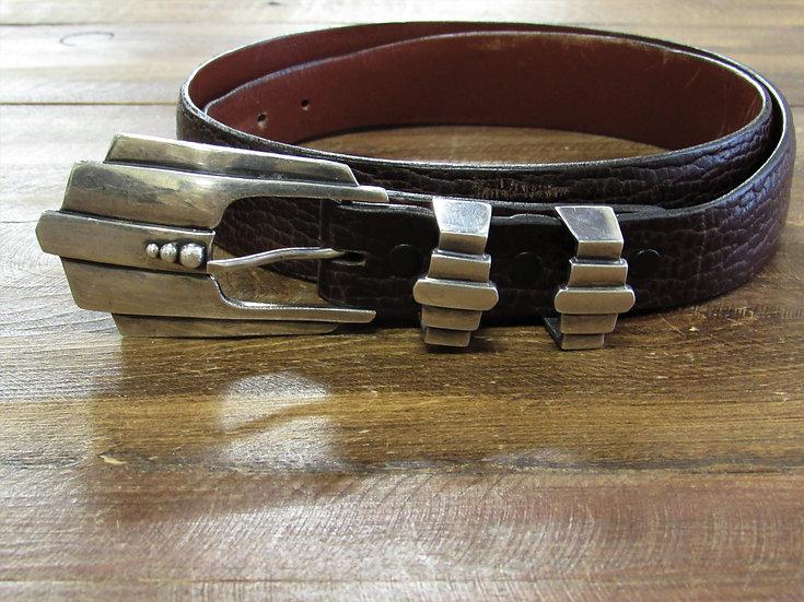 Vintage Sterling Silver Ranger Set on Bison Leather Belt