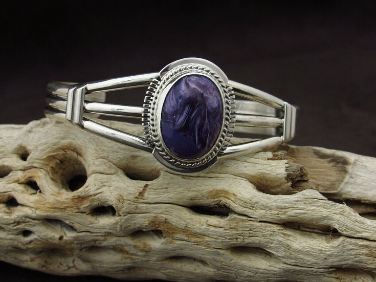 Navajo Charoite Sterling Silver Cuff Bracelet by Larson L Lee