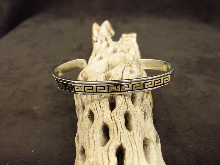 Sterling Silver and 14K Yellow Gold Overlay Cuff Bracelet by Rhoda Jack