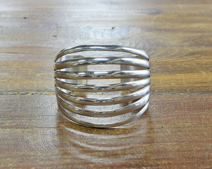 Southwestern Sterling Silver Split Shank Cuff Bracelet