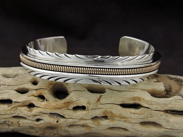 Navajo Sterling Silver and 12k GF Cuff Bracelet by Norbert Johnson