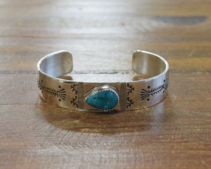Turquoise Stamped Sterling Silver Cuff Bracelet