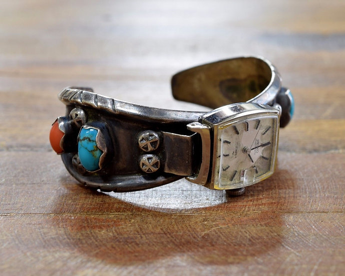 Vintage Sterling Silver Turquoise and Coral Watch Cuff