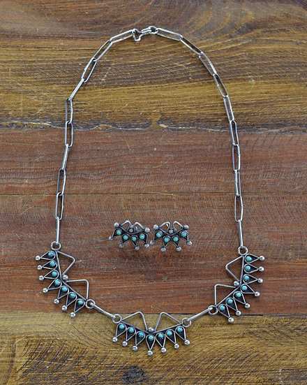 Southwest Sterling Silver and Turquoise Necklace and Earring Set