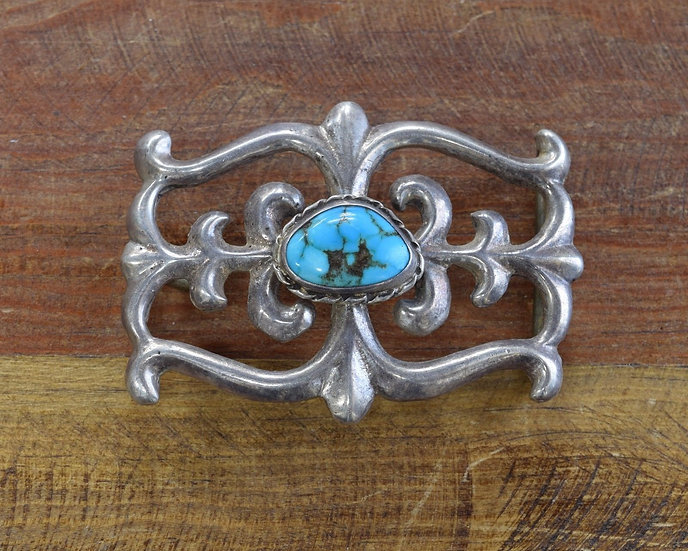 Southwest Sterling Silver and Turquoise Sand Cast Belt Buckle
