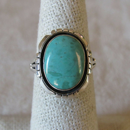 Amos Begay Sterling Silver and Green Turquoise Ring Size 6.5