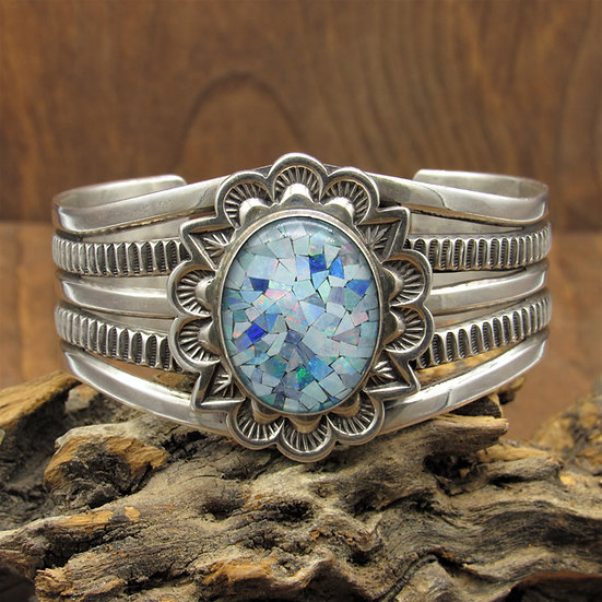Sterling Silver and Mosaic Opal Southwest Cuff Bracelet