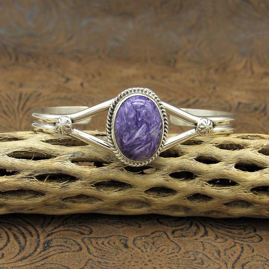 Beautiful Sterling Silver Charoite Southwestern Cuff Bracelet