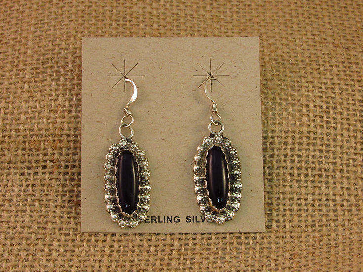 Navajo Black Onyx Sterling Silver Dangle Earrings