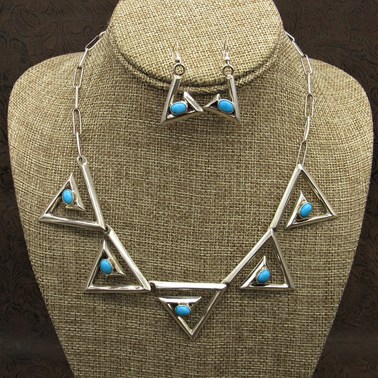 Southwestern Sterling Silver Turquoise Necklace and Earring Set