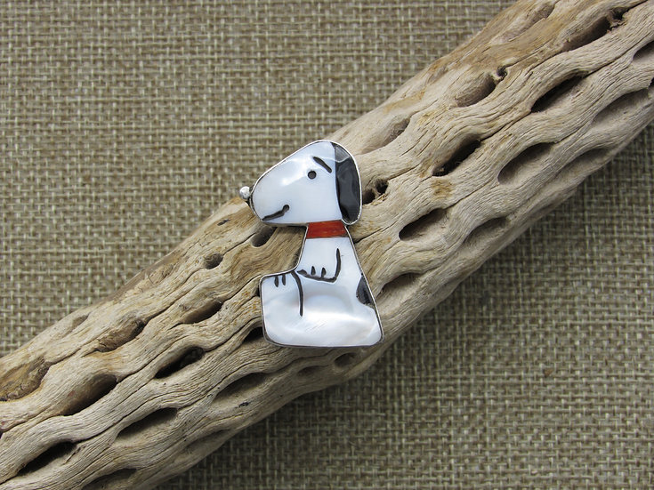 Mother of Pearl, Jet and Coral Inlay Snoopy Pendant