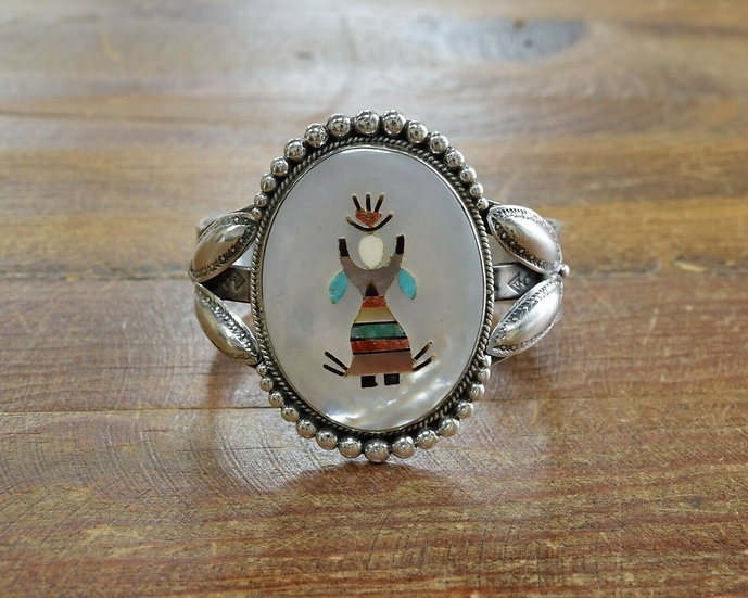 Vintage Southwestern Sterling Silver Apache Crown Dancer Inlay Cuff Bracelet