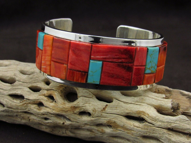 Sterling Silver Spiny Oyster and Turquoise Inlay Cuff Bracelet