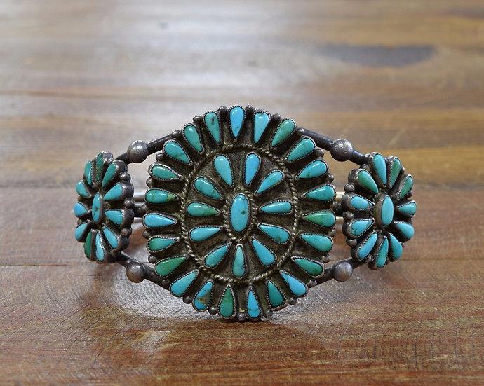 Vintage Southwest Turquoise Cluster Sterling Silver Cuff Bracelet