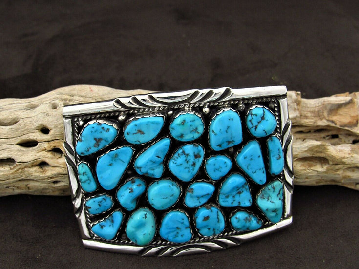 Navajo Turquoise Sterling Silver Belt Buckle