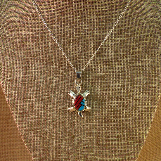 Navajo Multi Stone Inlay Turtle Sterling Silver Necklace
