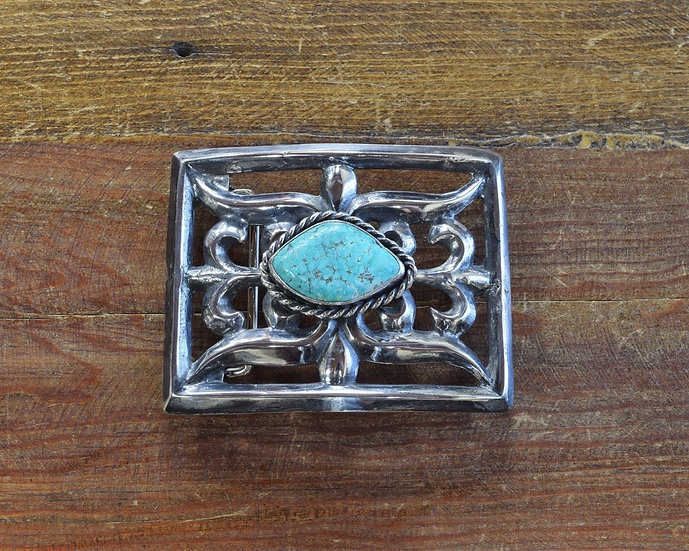 Vintage Sandcast Sterling Silver and Turquoise Belt Buckle