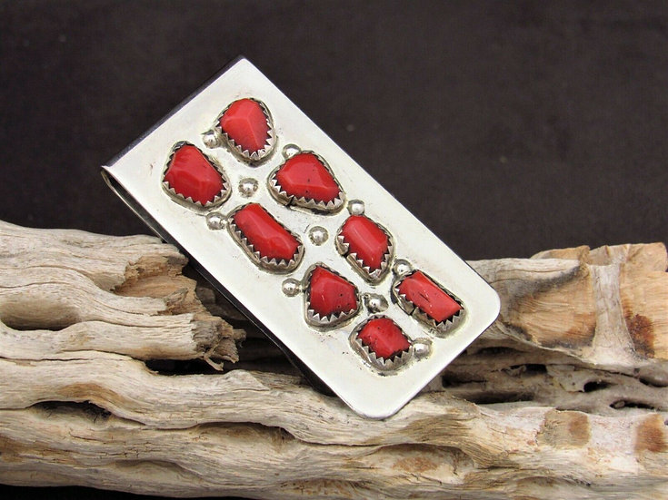 Zuni Coral Sterling Silver Money Clip by Curt Cheama