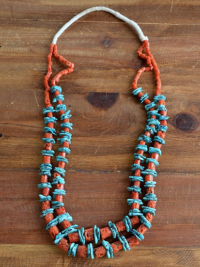 Vintage Southwest Turquoise and Coral Squaw Wrap Necklace