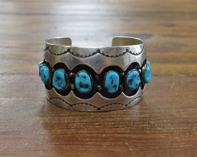 Vintage Navajo Sterling Silver and Turquoise Shadowbox Bracelet by Juan Abeyta