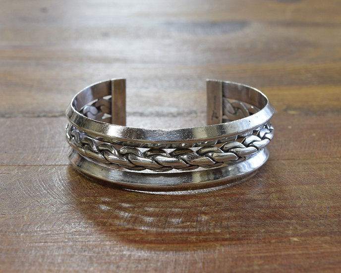 Vintage Sterling Silver Bell Trading Post Cuff Bracelet