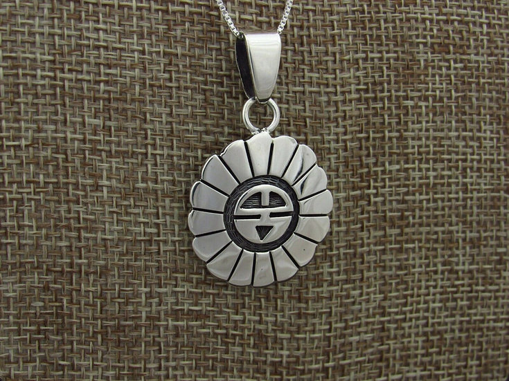 Sunface Overlay Sterling Silver Pendant with Chain