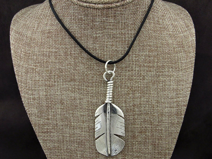 Sterling Silver Feather Pendant on a Black Chord