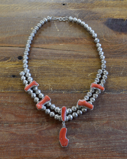 Sterling Silver Bead and Coral Necklace