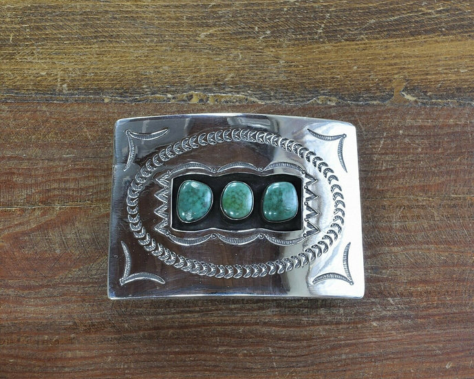 Vintage Navajo Sterling Silver and Green Turquoise Shadowbox Belt Buckle
