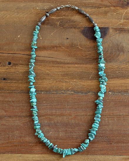 Turquoise Nugget Necklace with Silver Bead Ends
