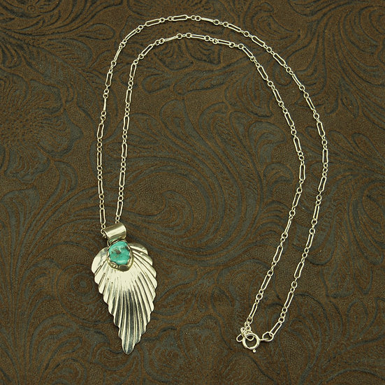 Navajo Sterling Silver Feather Pendant With Chain