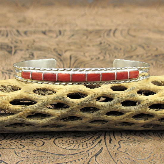 Lovely Sterling Silver Inlay Coral Cuff Bracelet