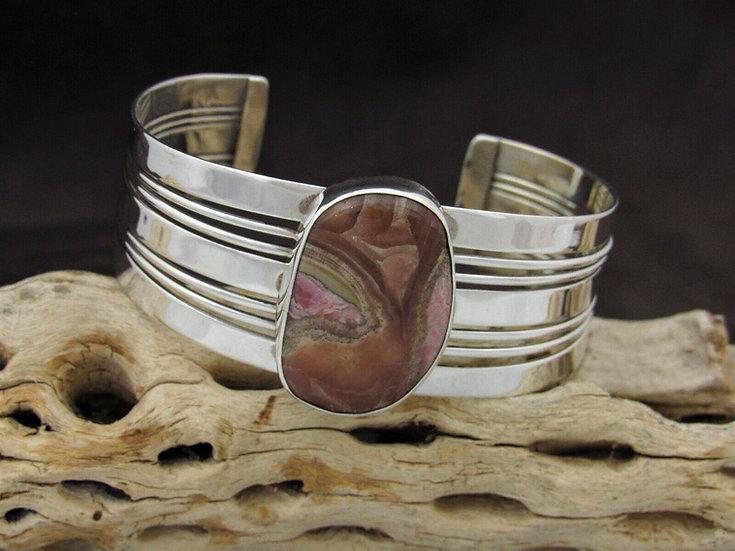 Sterling Silver Rhodochrosite Cuff Bracelet