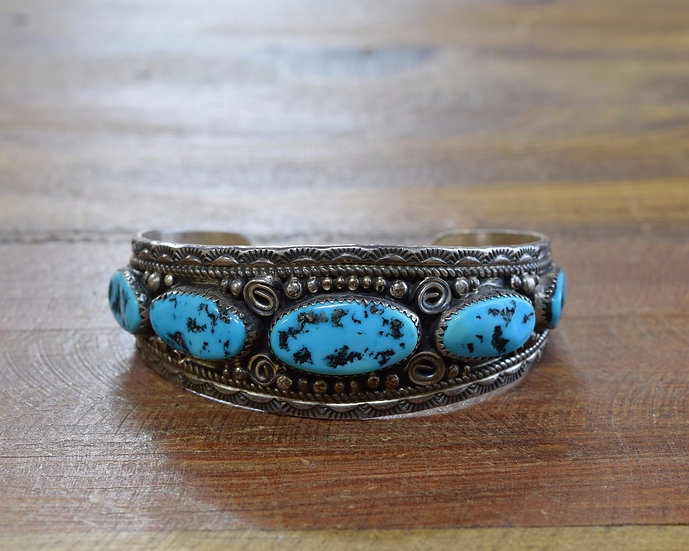 Sterling Silver and Turquoise Navajo Cuff Bracelet